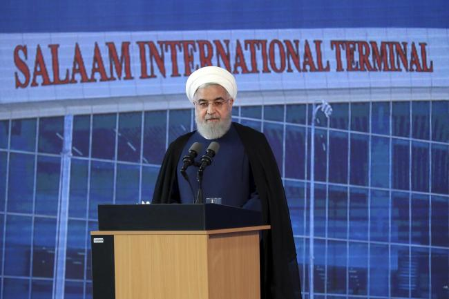 Iranian President Hassan Rouhani speaks at a ceremony at Imam Khomeini International Airport