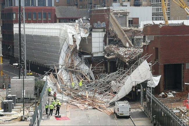 Scene of the collapse in Garrard Street, Reading