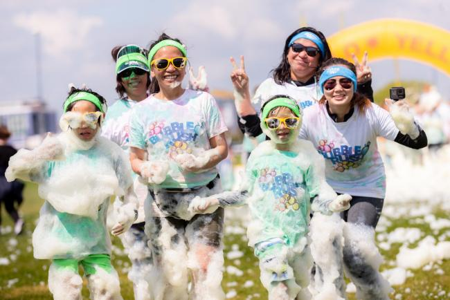 Bubble Rush charity event to raise funds for Naomi House and Jacksplace held on Southsea Common, Portsmouth, Hampshire - 11/05/2019