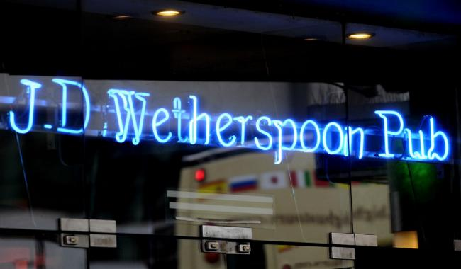 File photo dated 15/07/2015 of a JD Wetherspoon pub. Wetherspoons chief executive and ardent Brexit supporter Tim Martin has used his company's latest trading update to launch an attack on the Government and corporate governance rules. PA Photo. Issue