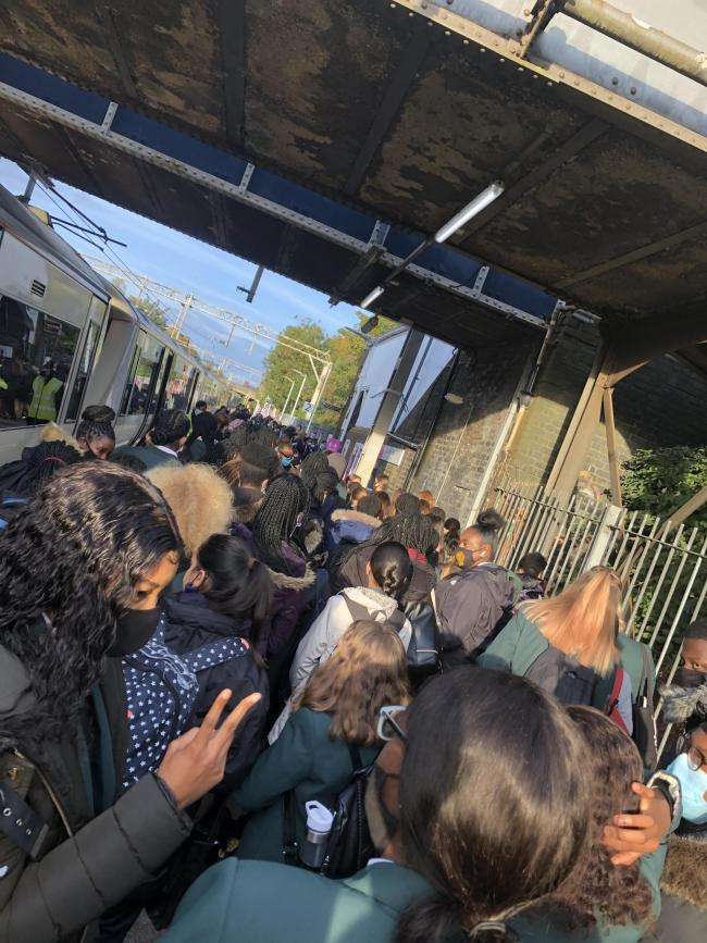 Packed - children trying to get out of Southend East train station