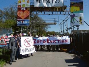 Some of the demonstrators who gathered at the entrance to the Dale Farm camp for Saturday's event, which included representatives of a United Nations committee on forced evictions