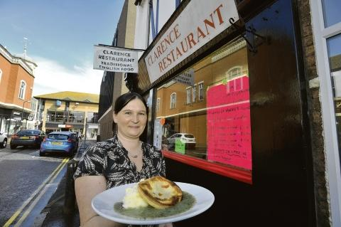 Pie wars - Cassandra Corallini with the Clarence restaurant's version of traditional pie, mash and liquor