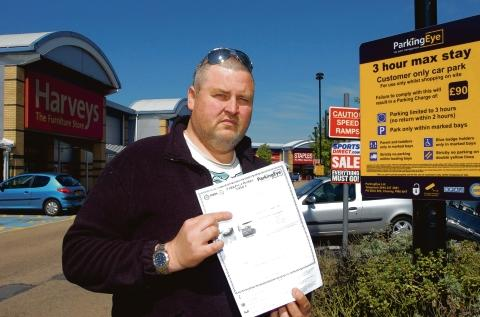 Furious – Barry Green with a £120 for parking in Southend Airport retail park