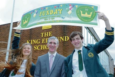 King Edmund headteacher Jonathan Osborn with head girl Faye Menzies and head boy Aaron Butcher