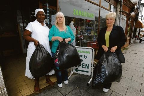 Targeted – the Samaritans shop with manager Debra, centre, and volunteers Lucy and Sheila