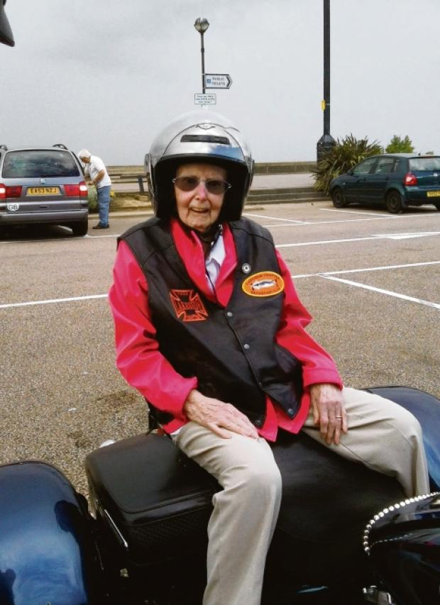 Fast lady Joan Hooper aboard the Harley at Southend