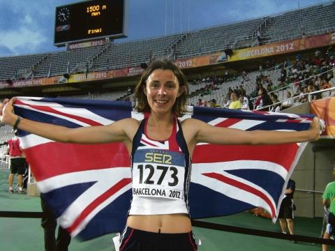 Jessica Judd celebrates her silver medal in the 800m at the World Junior Championships
