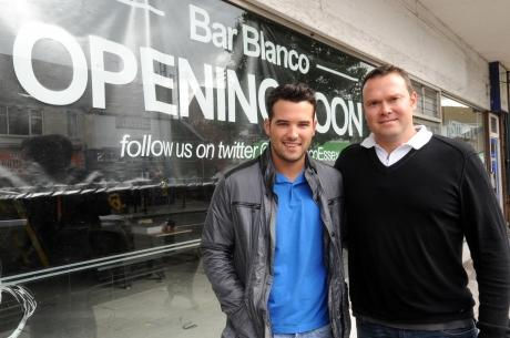 Bar Blanco, Eastwood Road, Rayleigh. Ricky Rayment, and Danny Salmon, outside bar to be.