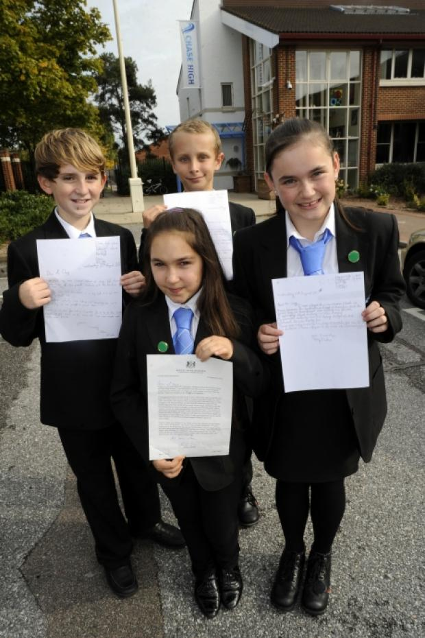 Ethan Windle, Avia Amar, Finley Ayris (at back), Amy Durban. Chase high school Prittlewell Chase westcliff Pic of students who took part in the summer school with a letter from Nick Clegg
