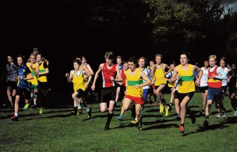 George Elliott and Laurence Willmore lead the field in the under-15 boys race