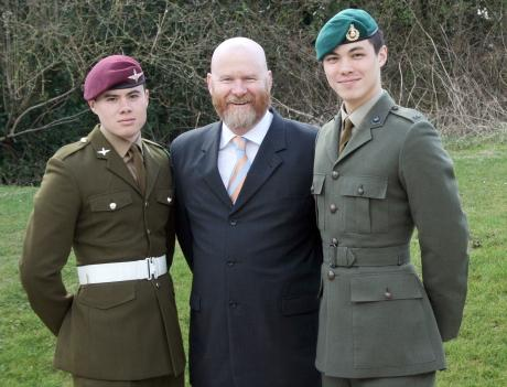 Proud dad Pc Stephen Wynn with his two soldier sons
