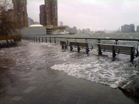 East River on the Manhattan side in New York as Hurricane Sandy brings 11ft high storm swell to America's east coast
