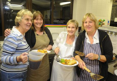 Shoebury Baptist Church, Delaware Road, Shoebury. Gillian Linzey, Joanna Jarvis, Louise Merrets and Hazel Read - kitchen volunteers. The church is one of seven in the town offering shelter for the homeless overnight, seven nights a week.