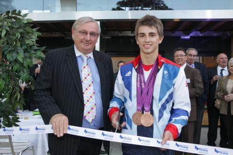 Weston Homes founder Bob Weston with Max Whitlock
