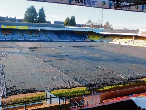 Southend Standard: Under wraps - the Roots Hall pitch had been under cover in a bid to get the game on