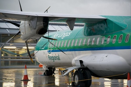 An Aer Lingus aircraft on the ground at Southend Airport