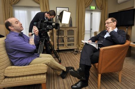Brian Dear with Sky Sports reporter and cameraman