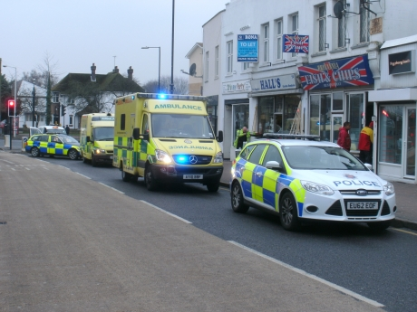 Ambulances and police cars flocked to the scene