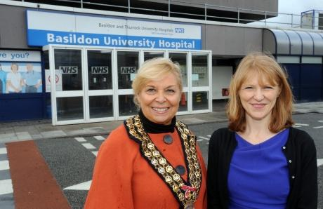 Southend Standard: Mayor Mo Larkin and Hospital chief Clare Panniker