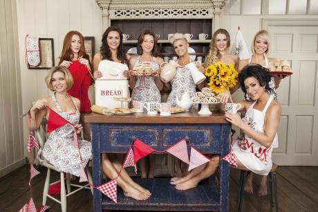 Rachel Riley, Natasha Hamilton, Kelsey Beth Crossley, Cherie Lunghi, Kerry Katona, Zoe Salmon, Liz McClarnon and Nancy Dell Olio strip off to promote Emma Bridgewater homeware being sold to raise money for Comic Relief