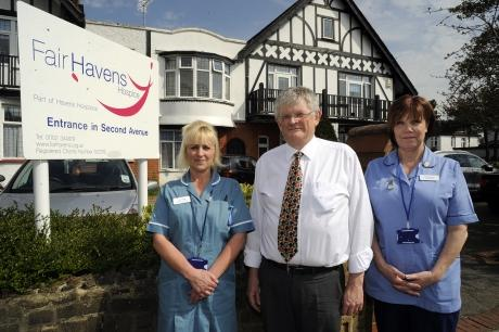 Nursing assistant Lisa Clarke, chief executive Andy Smith and staff nurse Linda Mathurin outside Fair Havens Hospice