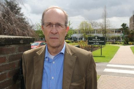 Southend Standard: Ron Woodley, Independent councillor for Thorpe Bay, outside Southend High School for Girls