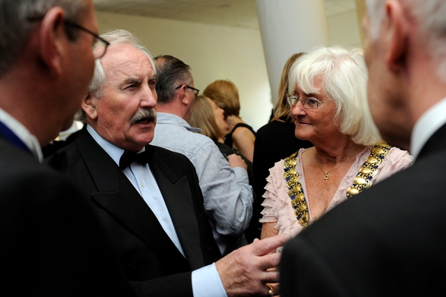 P. H. Moriarty talking to Southend Mayor Sally Carr at the Odeon cinema for the launch of last year's Southend Film Festival.