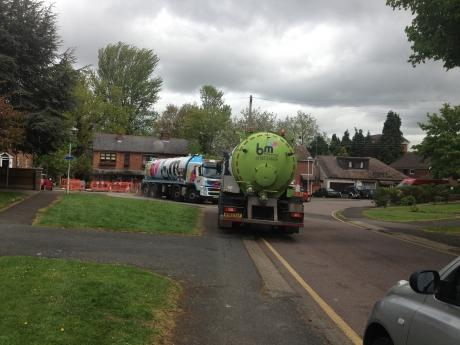 Tankers in West Park Avenue, Billericay, are pumping gallons of waste out after a sewer collapsed