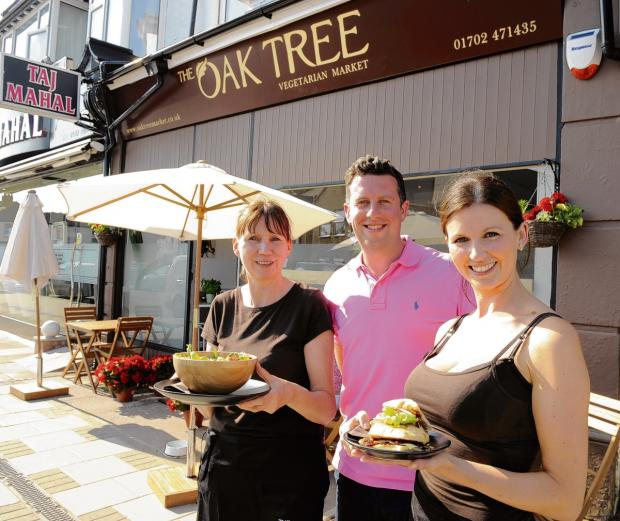 Meat free – Mary Pilley with Jim and Sam Anderson at Oak Tree Market