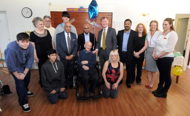 Southend Standard: Christopher celebrates his 100th with Champagne