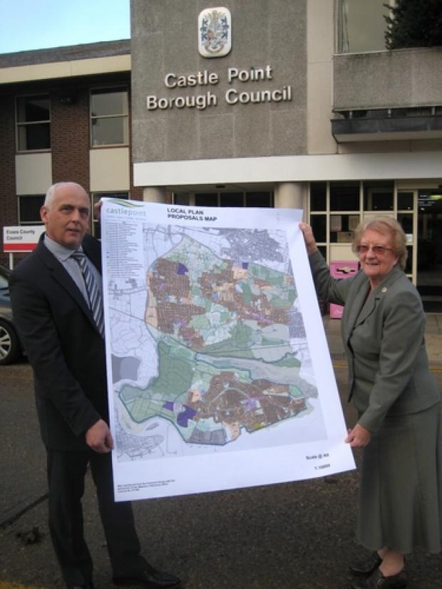 Southend Standard: Shape of things to come? Councillors Pam Challis and Norman Smith with the plans