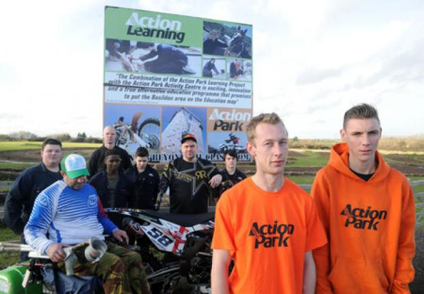 Fighting to stay – Action Park's James Whitaker and Robert Vickers with users and supporters on the site