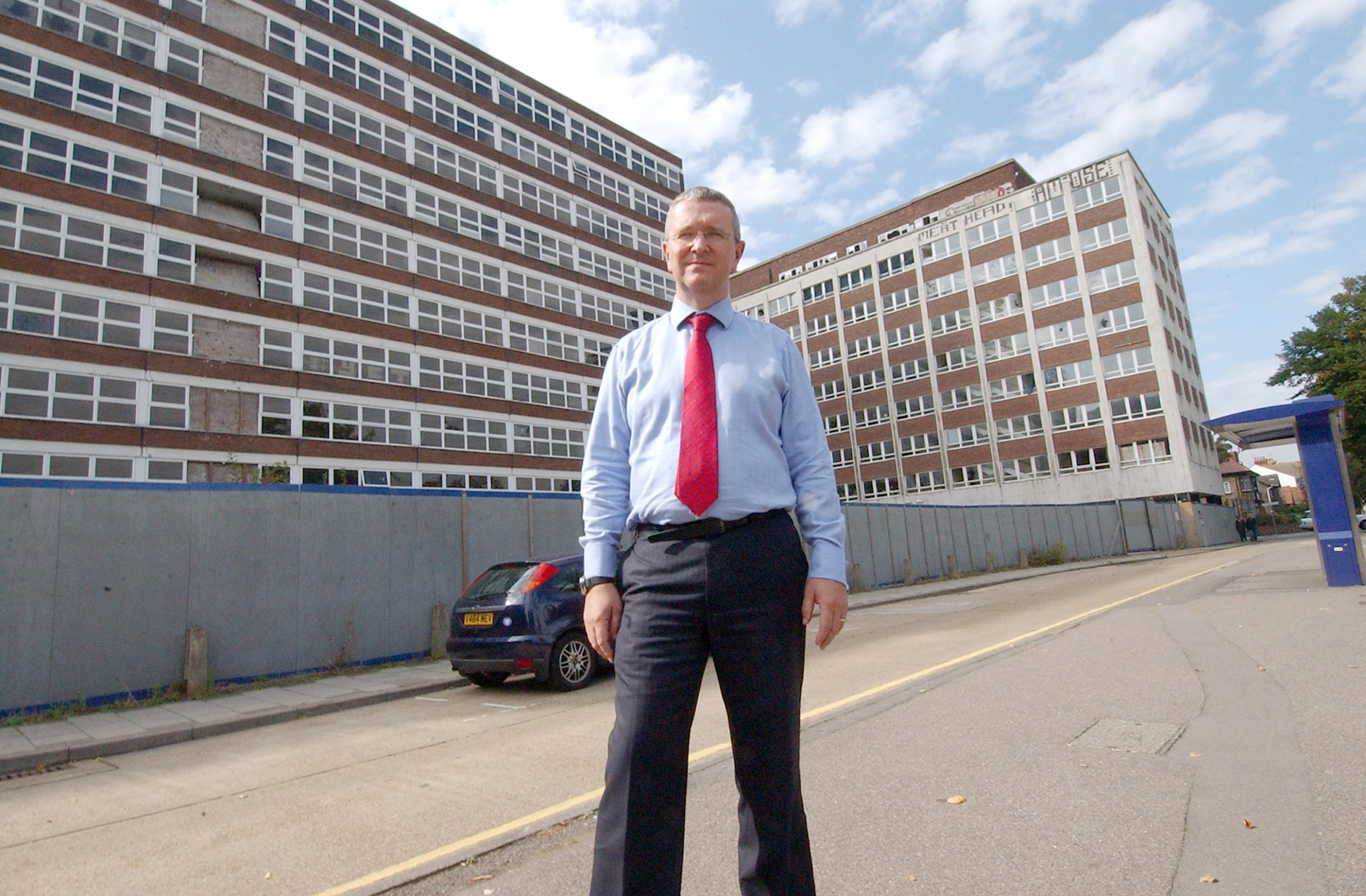 Southend Council leader Nigel Holdcroft outside Heath and Carby houses