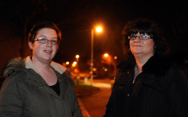 County councillor Melissa McGeorge and reisdent Jenny Thorpe in the Langdon Hills estate, where lights will stay on