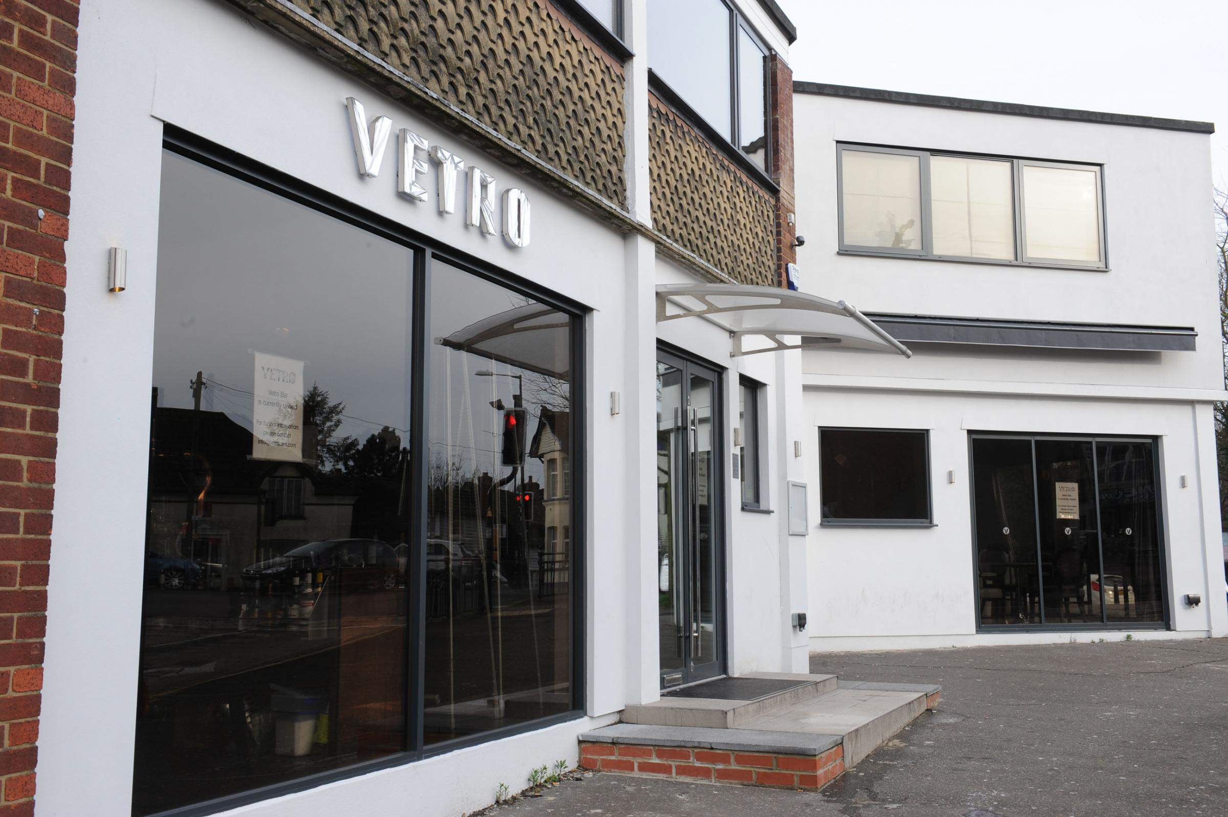 Deserted – the closed Vetro bar, in Western Road, Billericay
