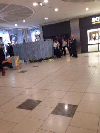 A section of the shopping centre was cordoned off as