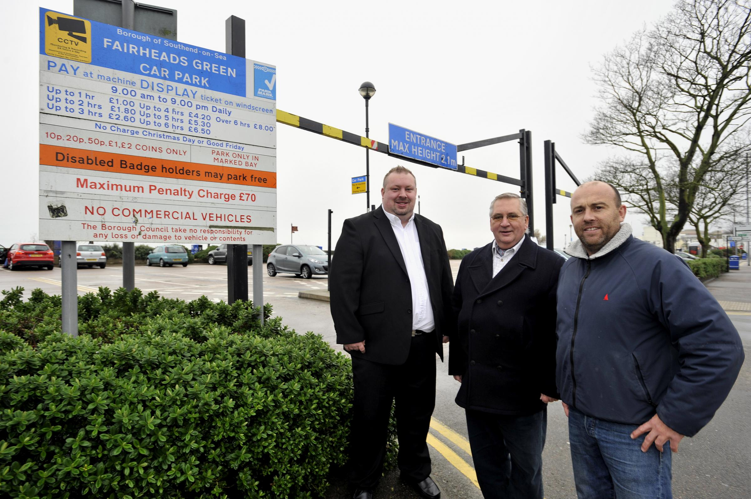 Tony Cox, councillor responsible for parking, John Lamb, councillor responsible for regeneration, and Paul Thompson, chairman of Southend Seafront Traders' Association, at the Fairheads Green car park