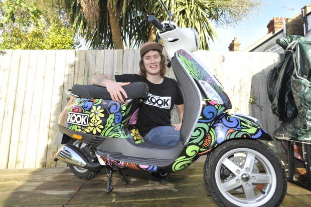 Local artist designed a Vespa scooter.. and won it