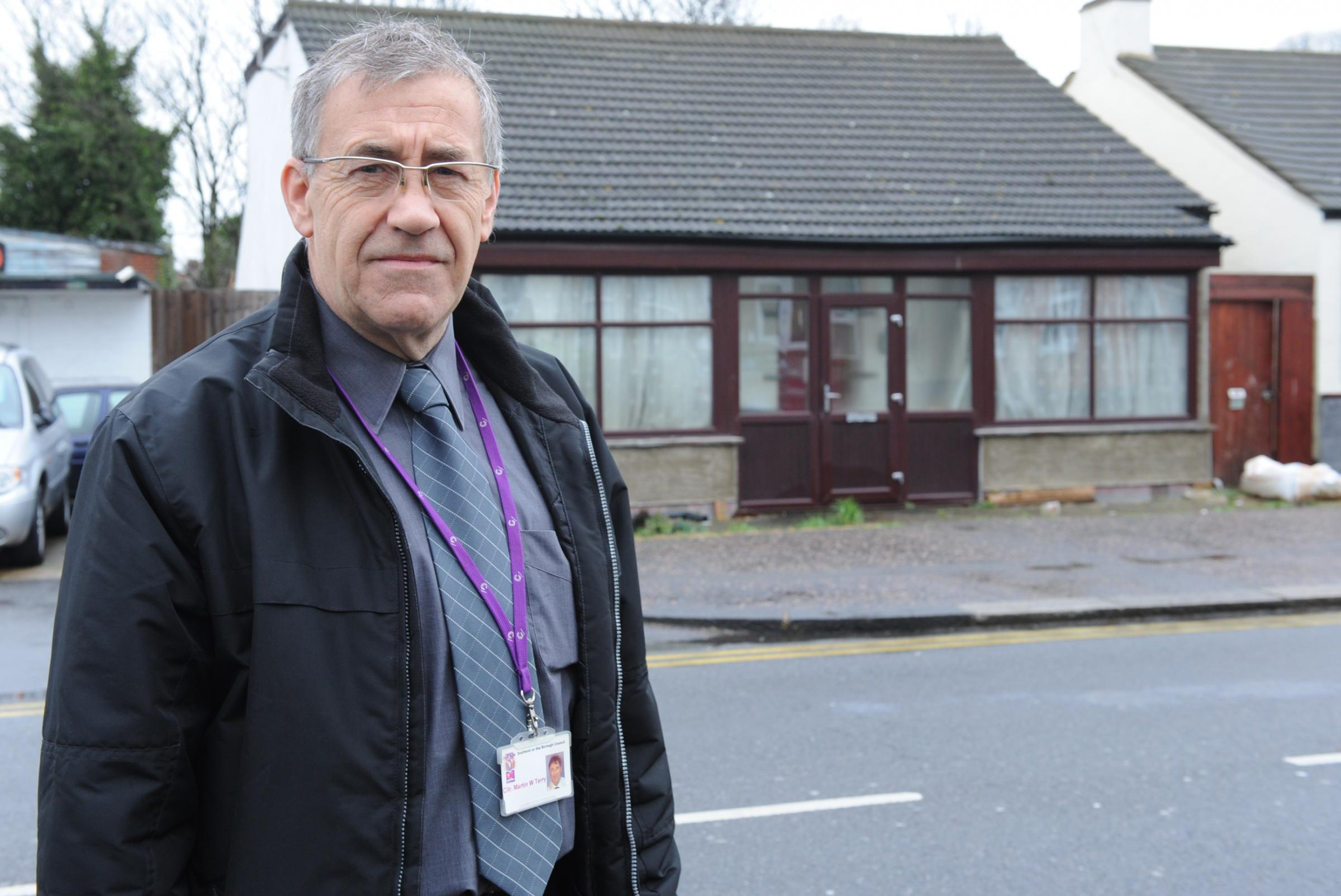 Westborough councillor Martin Terry outside the bungalow