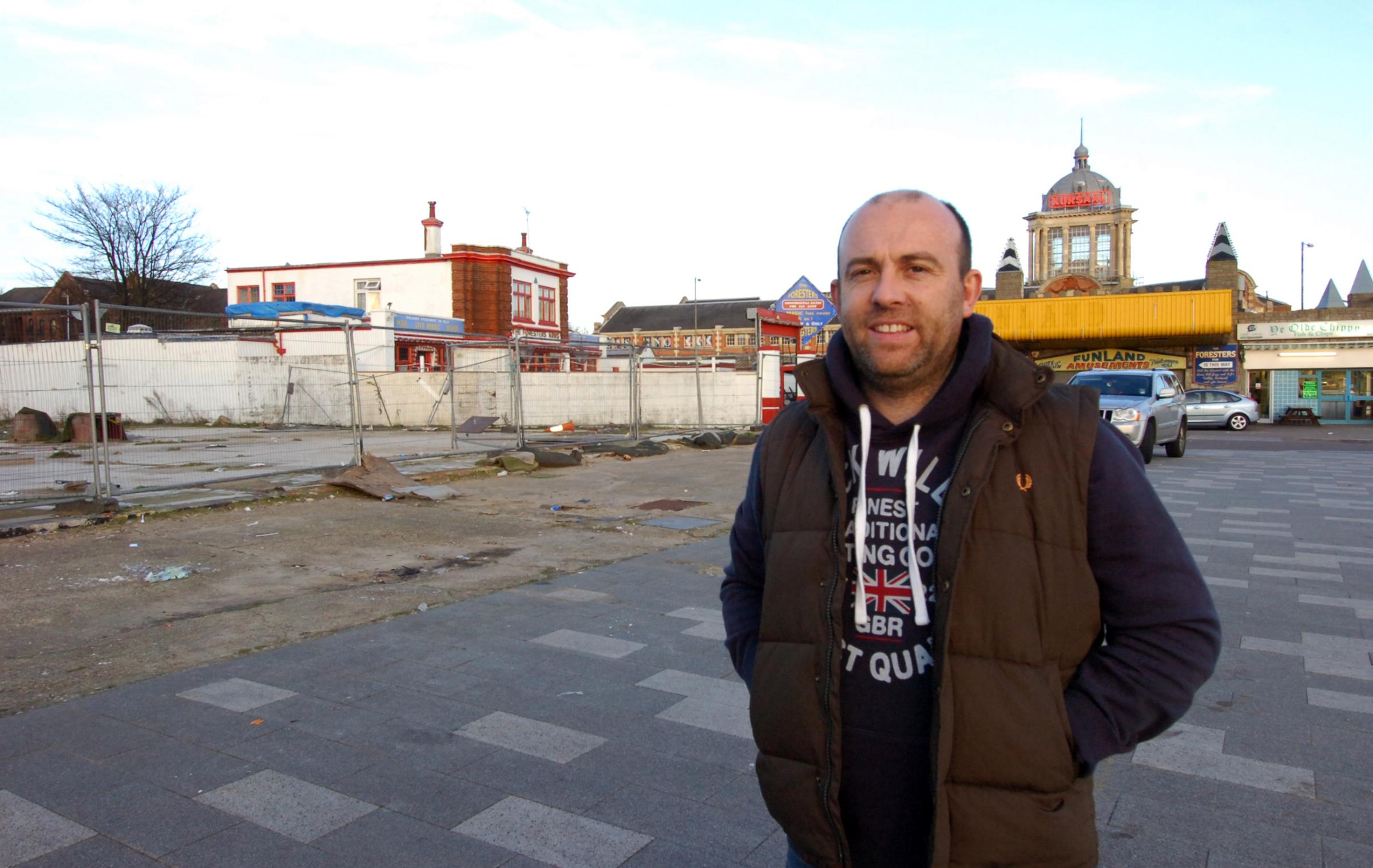 Paul Thompson, chairman of Southend Seafront Traders' Association, in front of the site