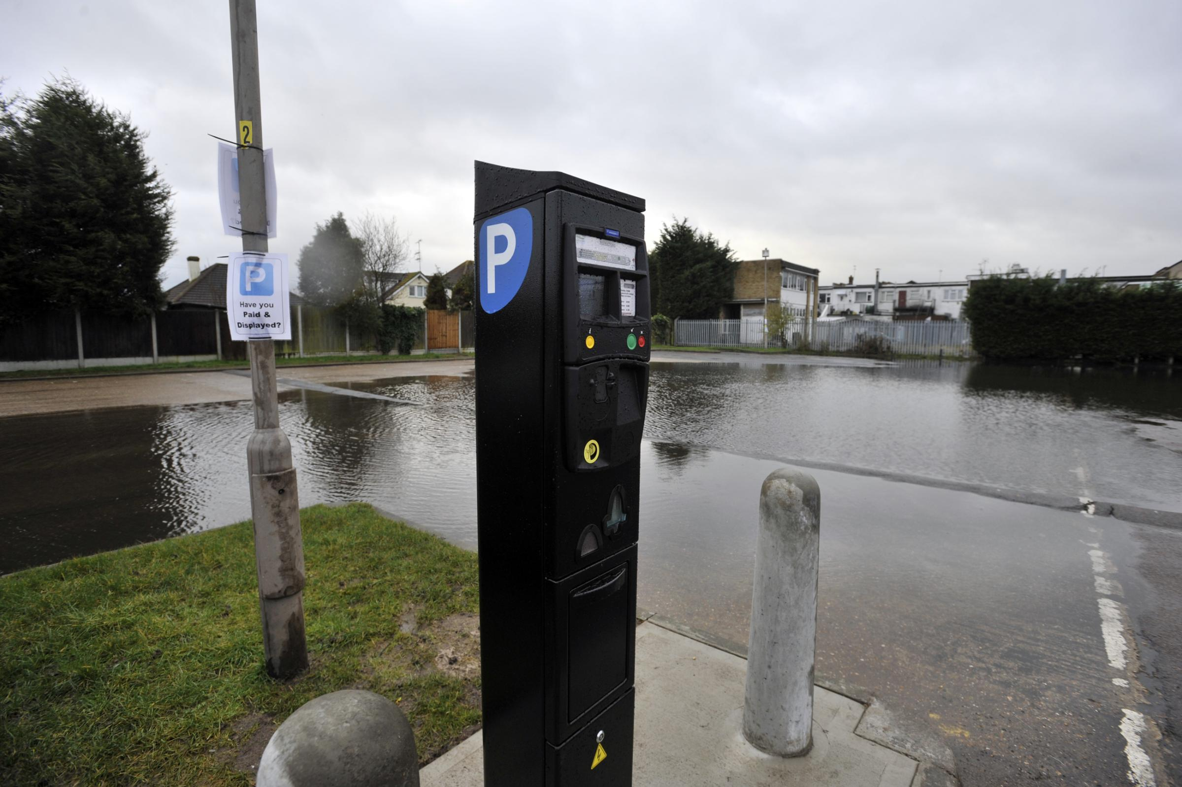 New charges start at underwater car park: Canvey's Oak Road car park deserted