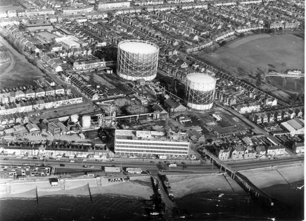 An aerial view of Esplanade House with the gasworks behind in 1970
