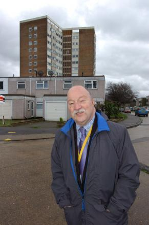 Keeping rent low – Lib Dem leader Graham Longley outside Cecil Court, in Prittlewell