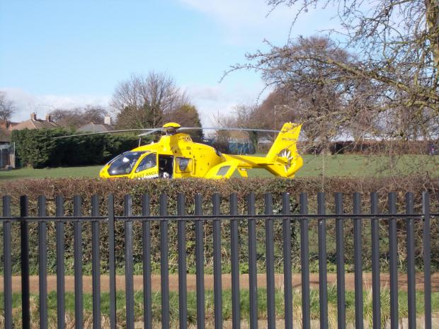 Southend Standard: The air ambulance behind Gainsborough Drive