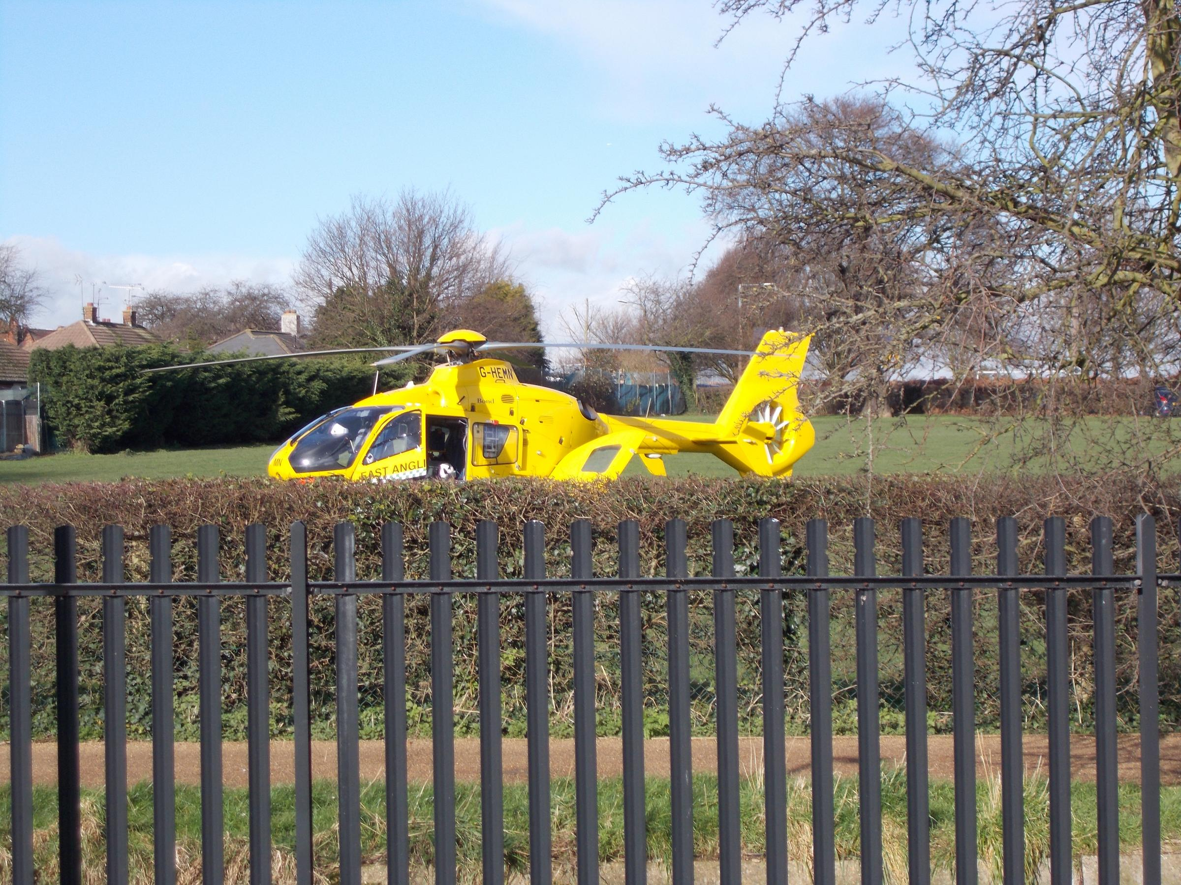 The air ambulance behind Gainsborough Drive