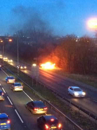 Car on fire on A127