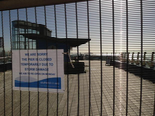 Closed - The sign greeting visitors to Southend Pier