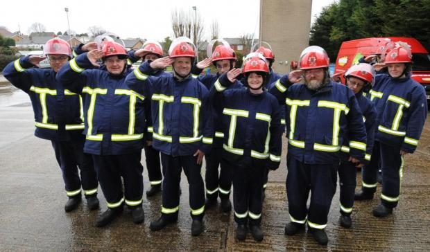 Southend Standard: Reporting for duty - the Firebreak crew on parade at Hawkwell