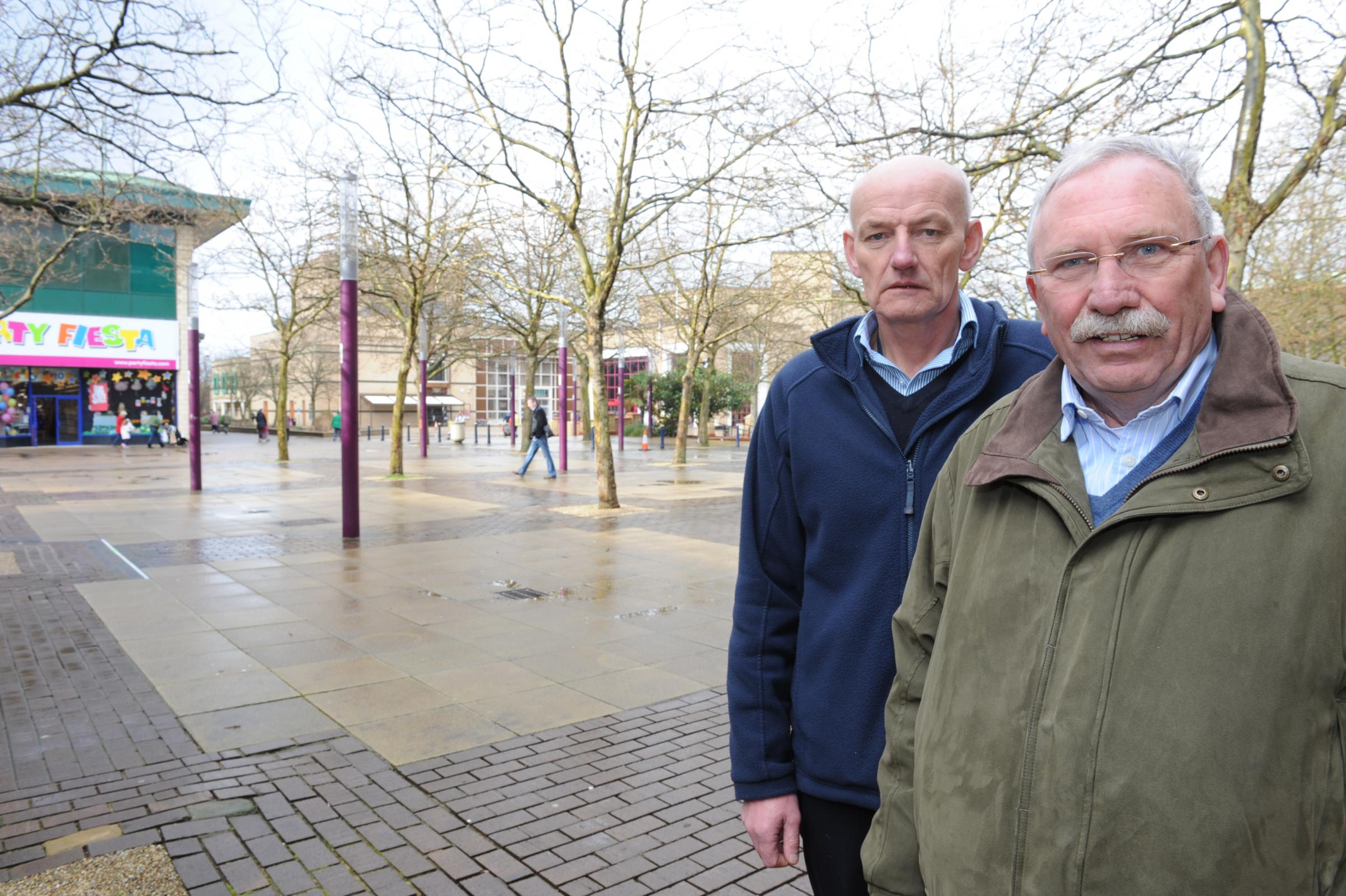 Hans Wustefeld, manager of Basildon Town Centre Management, right, and market boss Paul Dawson